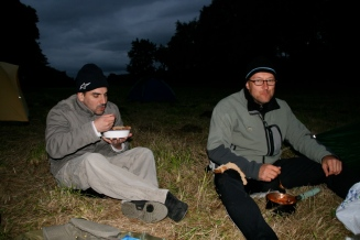 First night in a field behind a farm building
