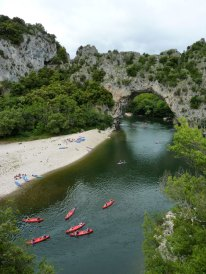 Pont d'Arc on the Ardeche - not a quiet river in August