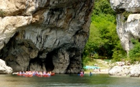 Canoers under the Pont d'Arc, Ardeche