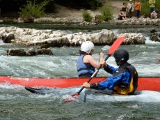Surfing on an Ardeche rapid
