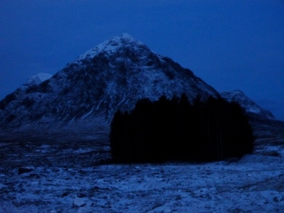 Buachaille Etive Mor from a warm room at the Kingshouse hotel