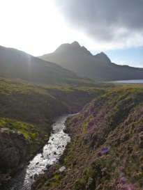 The gorge flowing west into Loch Gain
