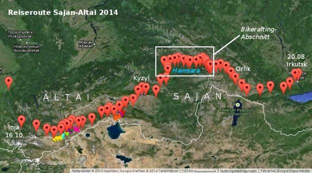 Reiseoute-Sajan-Altai