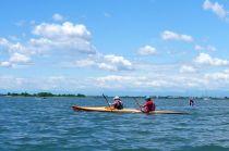 Slick wooden kayak